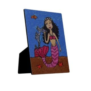 Pretty Dark Haired Mermaid Seahorse Fish Display Plaques