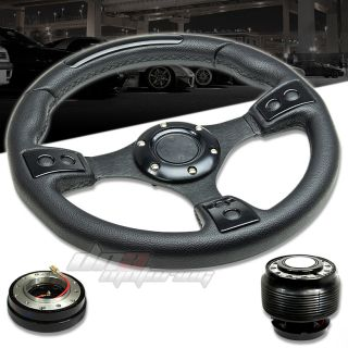 Release Hub T380 Black 320mm Racing Steering Wheel Civic CRX EF
