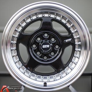 15x8 Str 512 4x00 0 Black Wheel Fit Honda CRX Del Sol Fit Civic SI EK6
