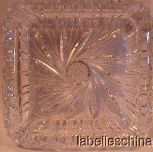 Unbranded Pinwheel Crystal Heavy Intricate Cross Cut Square Ashtray