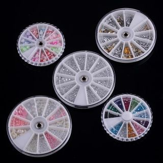 5X Wheels Nail Art Decoration Rose Sequin Pearl H4466