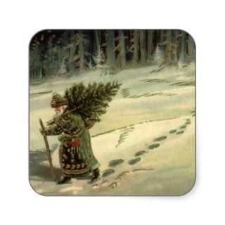 Vintage Santa Claus Carrying a Christmas Tree Stickers