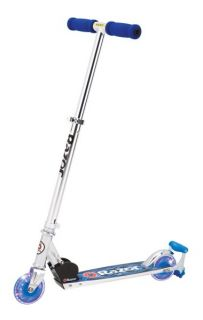 Razor Spark Dlx Deluxe Kick Scooter w LED Wheels Blue