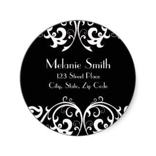 Black and White Damask Address Label Round Stickers