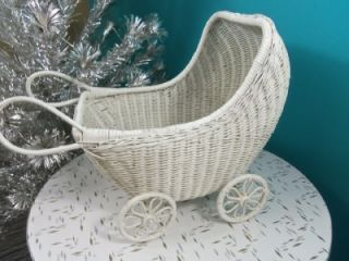 Vintage 1950 60s White Wicker Baby Doll Buggy. All the wheels roll