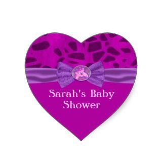 Pink & Purple Giraffe Baby Shower Heart Sticker