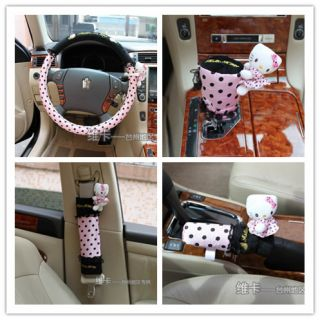 5pcs Hello Kitty Car Steering Wheel Gear Shift Handbrake Seat Belt