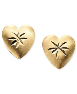 Childrens 14k Gold Heart Shaped Earrings   Kids Jewelry & Watches