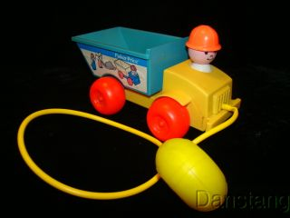 Vintage FISHER PRICE Jiffy Dump Truck Squeeze Bulb Pull Toy #151 1982