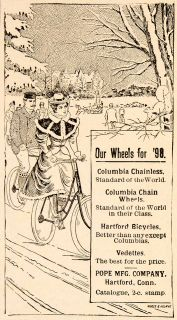 1898 Ad Columbia Chain Wheels Bicycle Hartford Vedette Winter Pope