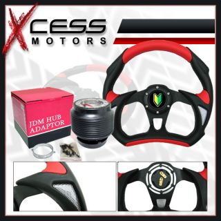 Mitsubishi Eclipse Lancer JDM Black Red Steering Wheel Hub Kit