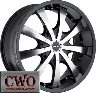 22 Black MKW M102 Wheels Rims 6x139 7 6 Lug Yukon Tahoe Titam Escalade