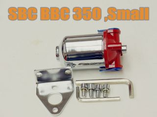 SBC BBC 350 Chrome Fuel Filter Red Top 3 8in NPT 10 Micron Street