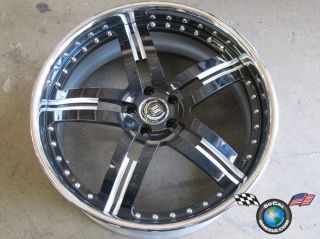 Society SW5 5x112 22x10 +37m Black Machined Chrome Lip Custom Rim