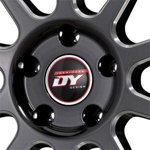 114.3 DY 77C Black CNC Machined With Stainless Chrome Lip Wheels/Rims