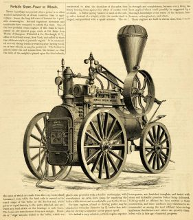 1874 Article Portable Steam Power Engine Hampson Whitehill Antique
