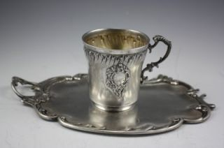 Antique French Sterling Silver Cup and Tray