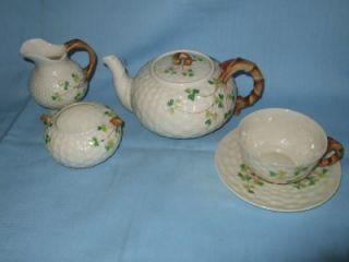Nice Antique Belleek 2nd Black Mark Shamrock Tea for One Set