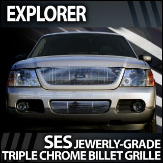 2002 2005 Ford Explorer SES Chrome Billet Grille (2pc. top & bottom)
