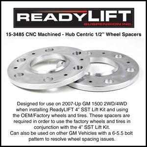15 3485 Readylift 1 2 Wheel Spacers GM 6 on 5 5 6 Lug