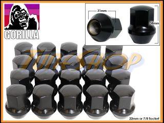 20 Gorilla Stock Wheels Lug Nuts 14x1 5 M14 1 5 Acorn Rim Black