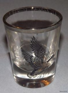Vintage Bird Duck Canada GOOSE Silver Rim Shot Glass