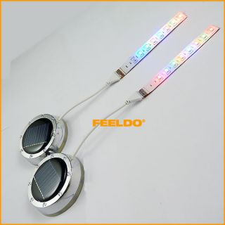 Solar Energy Power RGB LED Car Wheel Rim Flash Light Kits 3086