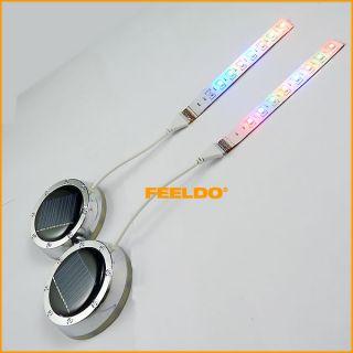 Solar Energy Power RGB LED Car Wheel Rim Flash Light Kits 3086