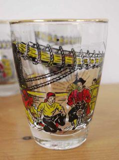 Vtg 60s Retro Pirate Whiskey Tumbler Glasses Set