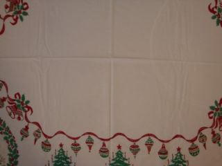 Charming Country Scenes Trees Bells Holly Vtg Christmas Tablecloth
