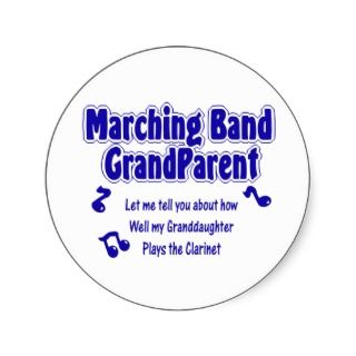 Marching Band Grandparent/ Clarinet Round Stickers