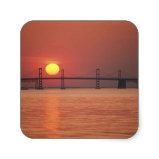 Chesapeake Bay Bridge, Maryland. Square Sticker