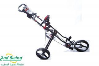 New Bag Boy Automatic 1 Step Fold 3 Wheel Push Cart Black Red Trim I