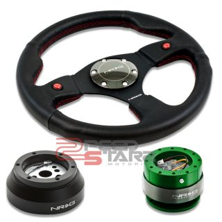 NRG 2 Button Steering Wheel Green Quick Release Short Hub Dodge GM GMC