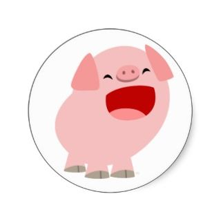 Cute Cartoon Singing Pig Sticker
