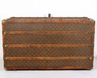 VUITTON Antique Circa 1930s Monogram Travel Steamer Trunk On Wheels