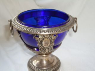 Victorian Silver Plate Pedestal Bowl with Antique Britol Blue Glass