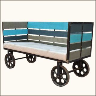 Reclaimed Wood Iron Industrial Bench on Roller Wheels on Cart NEW