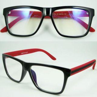 Eyeglass Eyewear Large Lens Vintage Red Black Spectacle Optical Frame