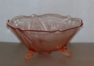 VNT Pink Depression Glass Lancaster Footed Bowl Patrick