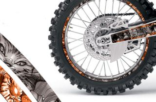 Kit  with number plate backgrounds and Rim Protector graphics