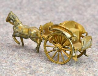 Antique Horse Wagon Toy Cast Lead Doll House Gold Gilt German