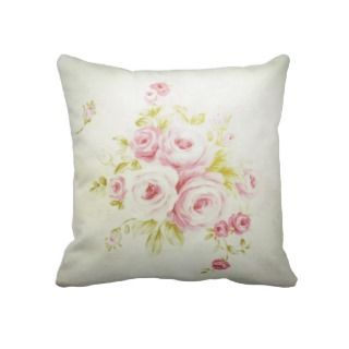 Vintage pink floral girly romantic chic roses throw pillow