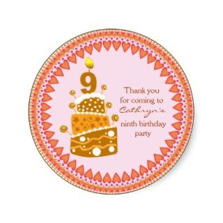 kids Birthday Thank You Stickers: Birthday Cake