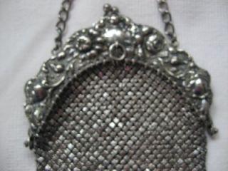 Antique Sterling Silver 925 Mesh Purse Art Nouveau Repousse Floral