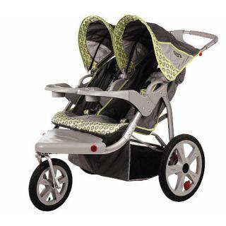 Instep Safari Swivel Wheel Double Jogger Gray Green