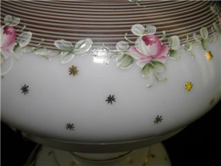 Vintage Hand Painted Enamel Roses Boudoir GWTW Hurricane Table Lamp