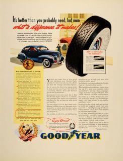 1939 Ad Goodyear Rubber Tires Wheels Car Rayotwist Cord   ORIGINAL