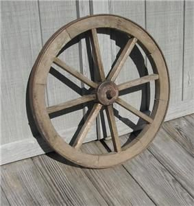 Antique Wood Iron Rim Wagon Wheel 20 Diameter