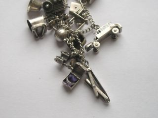 Antique Sterling Silver Moveable Charms Bracelet 18 Charms
